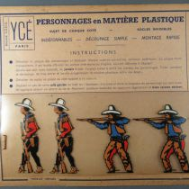 Ycé Paris - Mint Plate of 7 Rhodoid Figures to Cut - Footed Cow-Boys 2