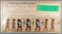 Ycé Paris - Mint Plate of 7 Rhodoid Figures to Cut - Footed Indians 1