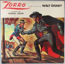 Zorro - Disque 33T -  Le Petit Menestrel PM 43 - D\'après le Grand Film de Walt Disney Raconté par Daniel Gélin